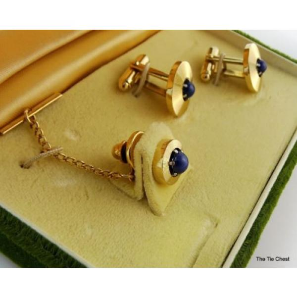 Vintage Cufflinks Set Genuine Linde Lindy Star Sapphires Anson #4 image