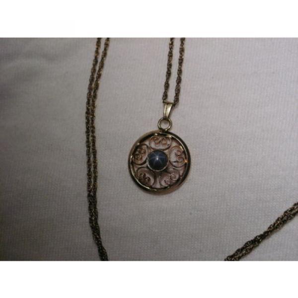 Vintage 12 Gold Filled Filigree,Linde/Lindy Blue Star Sapphire Pendant Necklace #1 image