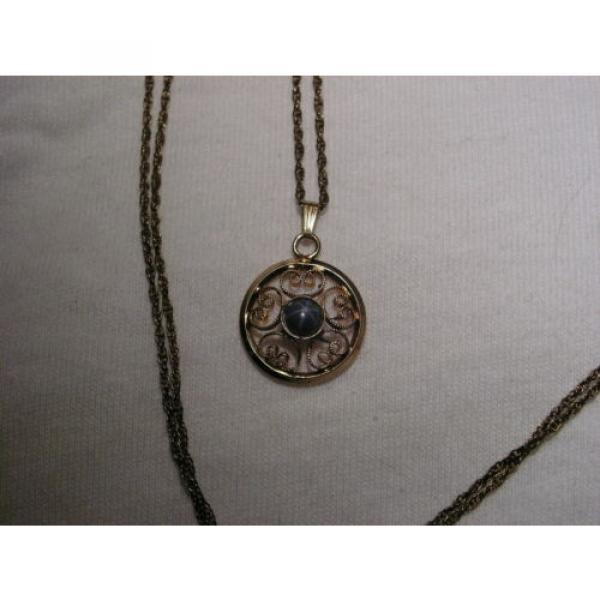 Vintage 12 Gold Filled Filigree,Linde/Lindy Blue Star Sapphire Pendant Necklace #2 image