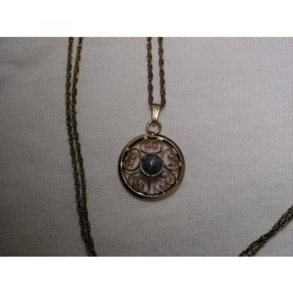 Vintage 12 Gold Filled Filigree,Linde/Lindy Blue Star Sapphire Pendant Necklace #3 image