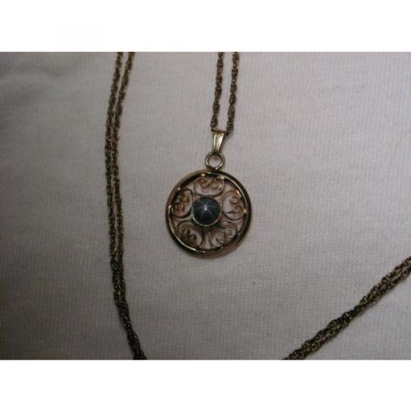 Vintage 12 Gold Filled Filigree,Linde/Lindy Blue Star Sapphire Pendant Necklace #4 image