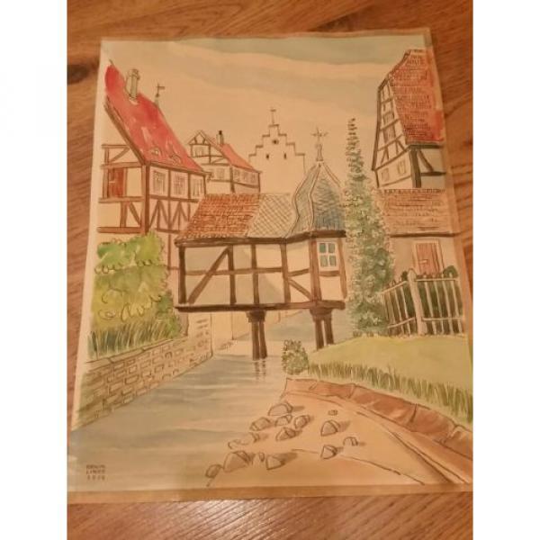 Original German Artist ERWIN LINDE 1959 Watercolor art in original frame. #1 image
