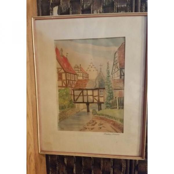 Original German Artist ERWIN LINDE 1959 Watercolor art in original frame. #5 image