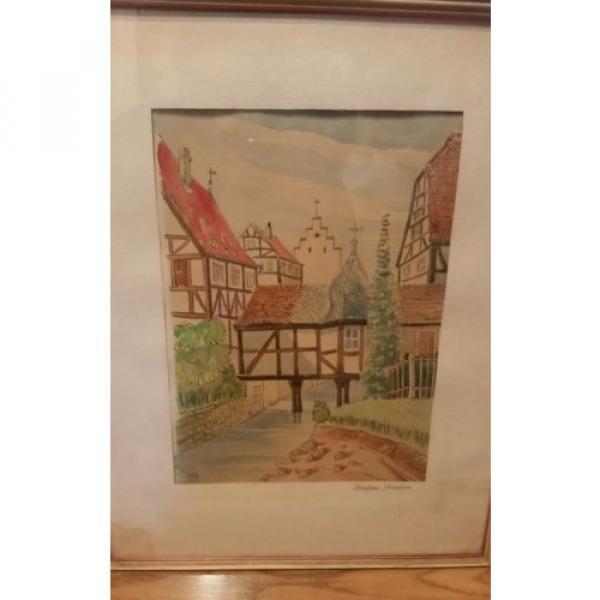 Original German Artist ERWIN LINDE 1959 Watercolor art in original frame. #6 image