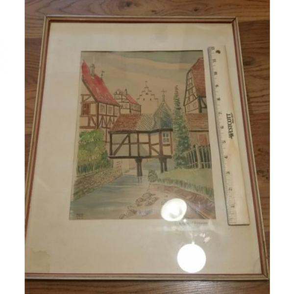 Original German Artist ERWIN LINDE 1959 Watercolor art in original frame. #8 image