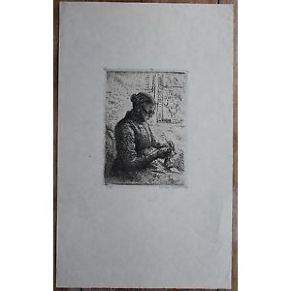 Heinrich Eduard Linde-Walther. Strickende alte Frau.  Signiert.    Lübeck. #1 image