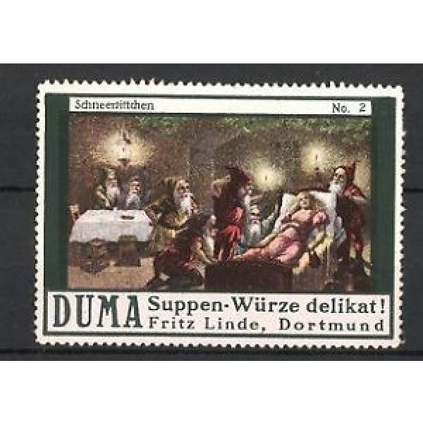 Reklamemarke Dortmund, Duma Suppen-Würze Fritz Linde, Schneewittchen schläft be #1 image