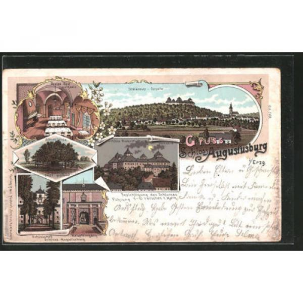 tolle Lithographie Augustusburg, Totalansicht, Schloß, Schloß-Linde 1906 #1 image