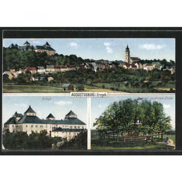 tolle AK Augustusburg, Schloß, Linde, Totalansicht 1929 #1 image