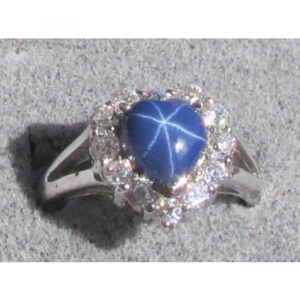 8MM HEART LINDE LINDY CF BLUE STAR SAPPHIRE CREATED 2ND RD PLT HALO .925 SS RING #1 image