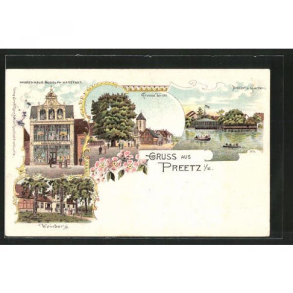 Lithographie Preetz, Warenhaus R. Karstadt, Gasthaus Weinberg, Große Linde, Rud #1 image