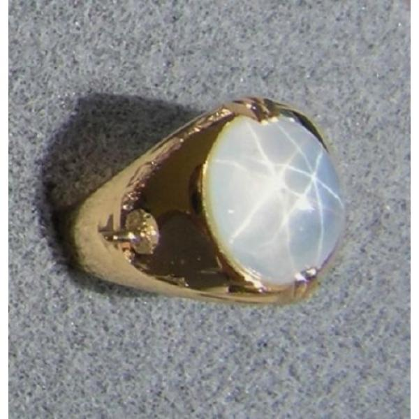 PMP LINDE LINDY TRANS WHITE STAR SAPPHIRE CREATED RING YELLOW GOLD PLATE .925 SS #2 image