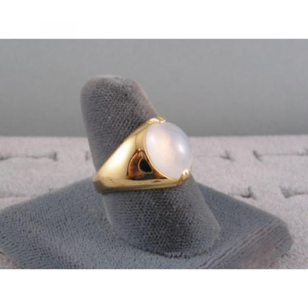 PMP LINDE LINDY TRANS WHITE STAR SAPPHIRE CREATED RING YELLOW GOLD PLATE .925 SS #3 image