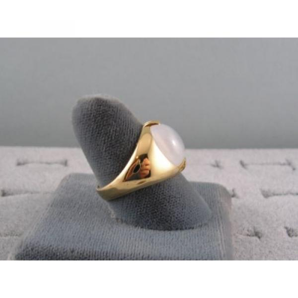 PMP LINDE LINDY TRANS WHITE STAR SAPPHIRE CREATED RING YELLOW GOLD PLATE .925 SS #6 image