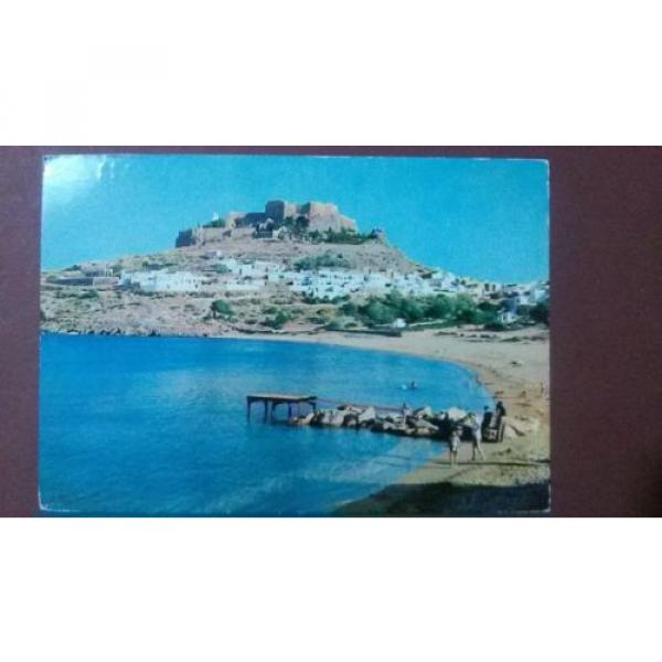 Greece postcard: Rhodes-Village of Linde & Acropolis, unposted. #1 image