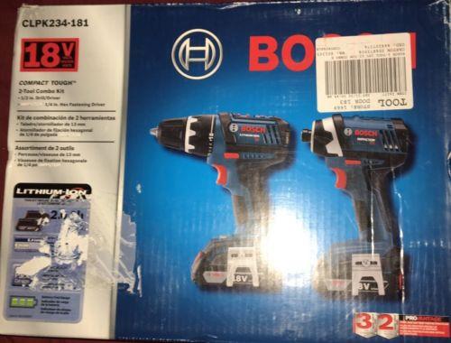 Brand New Bosch 18V Li-Ion 2-Tool Combo Kit CLPK234-181