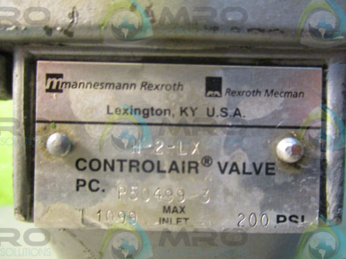 REXROTH France Italy H-2-LX CONTROL AIR VALVE (200PSI) *USED*