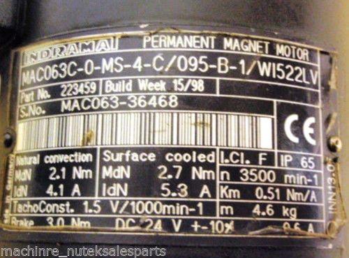Rexroth Canada Singapore Indramat Permanent Magnet Motor MAC063C-0-MS-4-C/095-B-1/W1522LV
