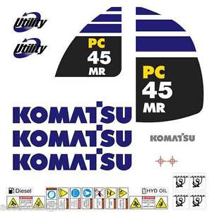 Komatsu PC45MR-2 Decals Stickers, repro Kit for Mini Excavator