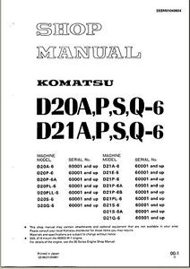 Komatsu Bulldozer D21P-6 D21P 6 Service Repair  Shop Manual