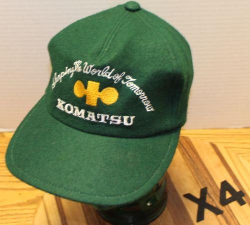 "VINTAGE KOMATSU ""SHAPING THE WORLD OF TOMORROW"" GREEN WOOL HAT ZIP STRAP ADJUST"