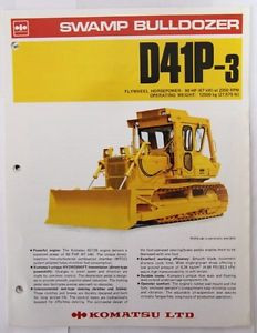 Komatsu D41P-3 Swamp Bulldozer Original Sales/specification Brochure