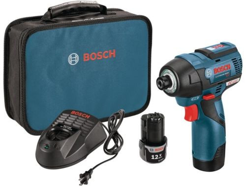 """Impact Driver Tool Kit 12-Volt MAX Cordless Variable Speed 2600 RPM 1/4"""" Bosch"""