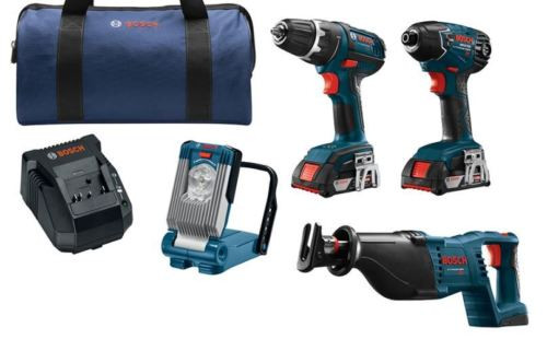 New Bosch,4-Tool,18 Volt, Lithium Ion,Cordless Combo Kit,Soft Case,Drill, Driver