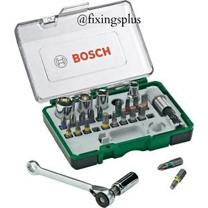 Bosch Screwdriver Bit Set 26 Pce Mini Ratchet Set Car Bike Motorcycle Cycle Etc