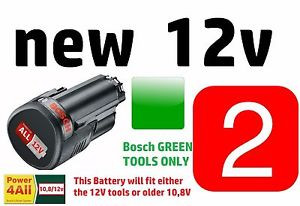 2 x Green BOSCH Tool 12v Battery LithiumION Rechargable 1600A00H3D 3165140852623