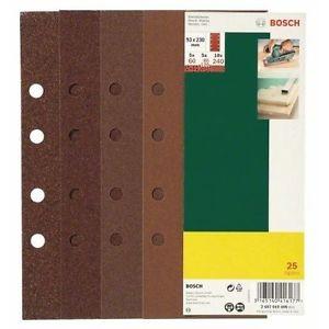Bosch 2607019499 25 Fogli ABR, 93 x 230, 8 Fori, Grana 60-240