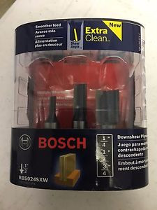 "Bosch 1/2"" 1/4"" & 3/4"" Downshear Plywood Mortising Router Bit Set RBS024SXW NEW"