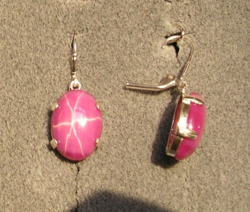 LINDE LINDY 16X12MM 17+  CTW PINK STAR RUBY CREATED SAPHIR SS LEVERBACK EARRINGS