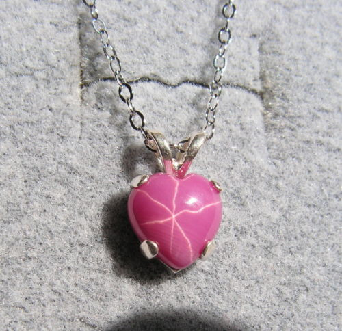 LINDE LINDY PINK STAR RUBY CREATED SAPPHIRE HEART PENDANT 2ND .925 S/S CHAIN