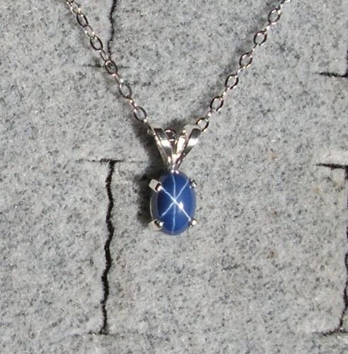 LINDE LINDY CORNFLR BLUE STAR SAPPHIRE CREATED 925 STERLING SILVER PENDANT CHAIN