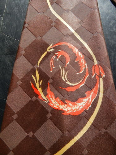 Shiny Wide Vintage LINDE Art Deco Tie Necktie - One Fine Swirling Fire Fatty