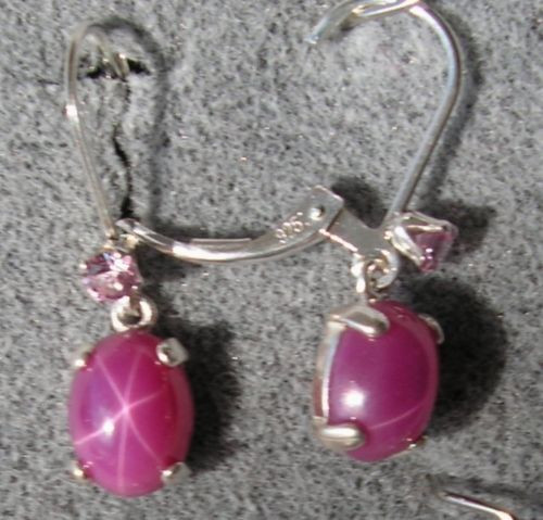 VINTAGE LINDE LINDY 9x7MM PINK STAR RUBY CREATED SAPPHIRE L BK EARRINGS .925 S/S