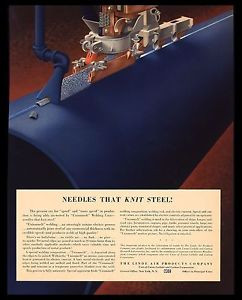 """VINTAGE 1941 """"UNIONMELT WELDING"""" ELECTRIC PROCESS LINDE AIR PRODUCTS  PRINT AD"""