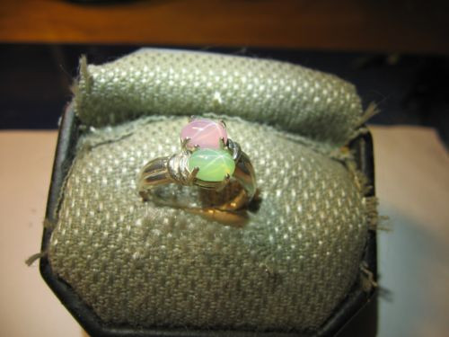 GEMIN 7X5MMI MINT/PINK LINDE STAR SAPPHIRE RING .925 STERLING SILVER SZ 7 & MORE