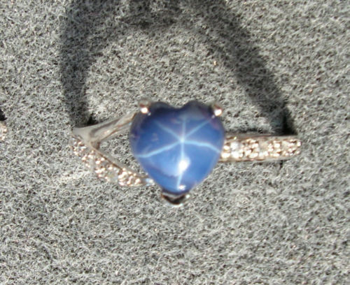 8X8MM HEART LINDE LINDY CF BLUE STAR SAPPHIRE CREATED 2ND RD PLT .925 S/S RING