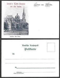 Old Germany Postcard - Gruss aus Aachen - Linde's Kaffe-Essenz, Coffee - Church