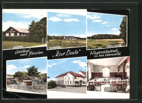 AK Wagenschwend, Gasthaus Pension zur Linde, Saal, Terrasse, Außen- u. Innenans