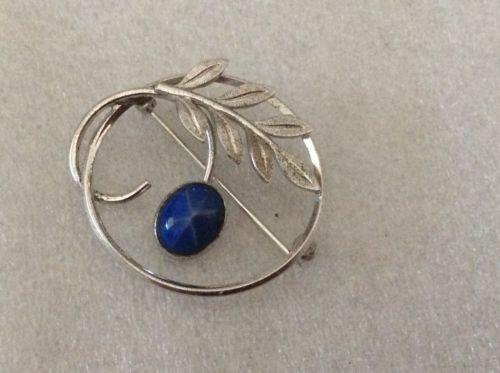Vintage Sterling Signed Van Dell Linde Star Leafy Pin