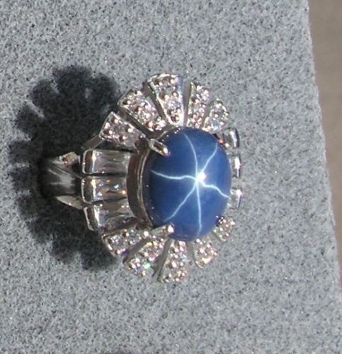 12X10MM LINDE LINDY CRNFLWER BLUE STAR SAPPHIRE CREATED 2ND RD PLT .925 S/S RING