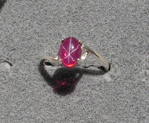 8X6mm 1.5+ CT LINDE LINDY TRN RED STAR SAPPHIRE CREATED RUBY SECOND RING .925 SS