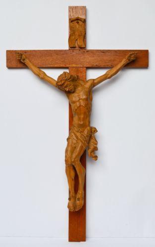 Großes Kruzifix Christuskreuz Holz Kreuz Eiche Korpus Linde geschnitzt 83 x 50cm