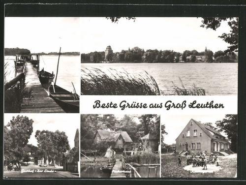 schöne AK Groß Leuthen, Gasthof Zur Linde, Fischerhaus und Kindergarten