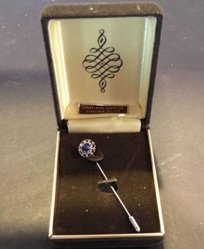 Vintage Blue Linde Star Sapphire Sterling Silver Cravat Stick Pin