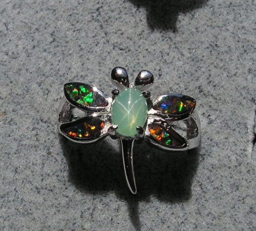 VINTAGE LINDE LINDY MINT GREEN STAR SAPPHIRE CREATED DRAGON FLY RING RP .925 SS