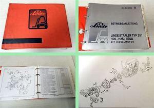 Linde H20 H25 H30D Typ 351 Betriebsanleitung Ersatzteilliste 1988
